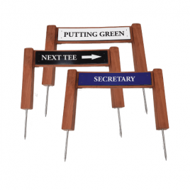 New T J Golf Teak Twin Post Sign with Di Bond Plate