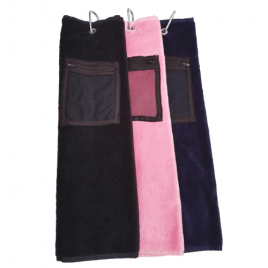 T J Golf Velour Tee Towels Tri-Folded with Zip Pocket