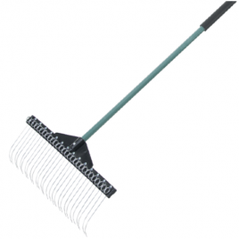 T J Golf 21″ (51cm) Debris Rake c/w Fibreglass Handle