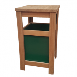 Iroko Hardwood Tall Flat Top with Open Sides Litter Bin with Steel Liner
